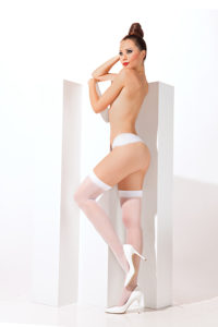 SH015 Starline Sheer Thigh Highs White