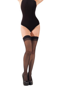 SH016 Starline Sheer Cuban Heel Thigh Highs Black
