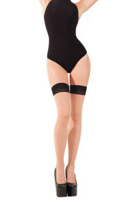 SH016 Starline Sheer Cuban Heel Thigh Highs Nude