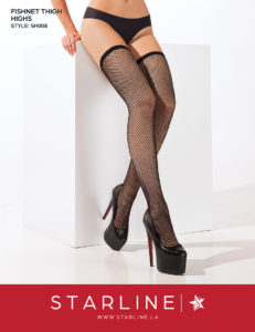 Boxed SH008 Fishnet Thigh Highs Black