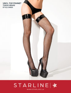 Boxed SH020 Vinyl Top Fishnet Thigh Highs Black