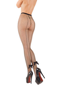 SH005 Starline Fishnet Tights with Bow Black