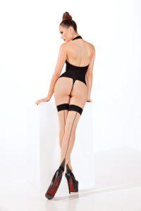 SH016 Starline Sheer Cuban Heel Thigh Highs Nude
