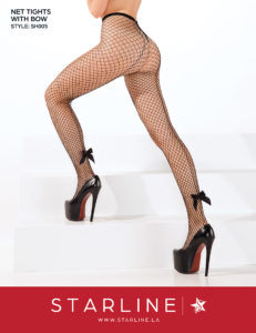 Boxed SH005 Net Tights with Bow Black