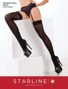 Boxed SH012 Opaque Thigh Highs Black